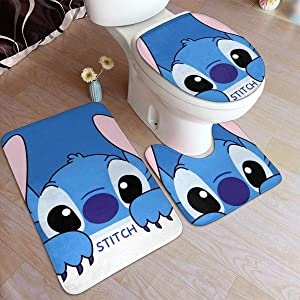 """Lilo & Stitch Comfort Flannel Bathroom 19.5"""""""""""""""" X 31.5"""""""""""""""" Rug Mats Set 3 Piece Soft Non-Slip with Backing Pad Bath Mat + Contour Rug + Toilet Lid Cover Absorbent"""