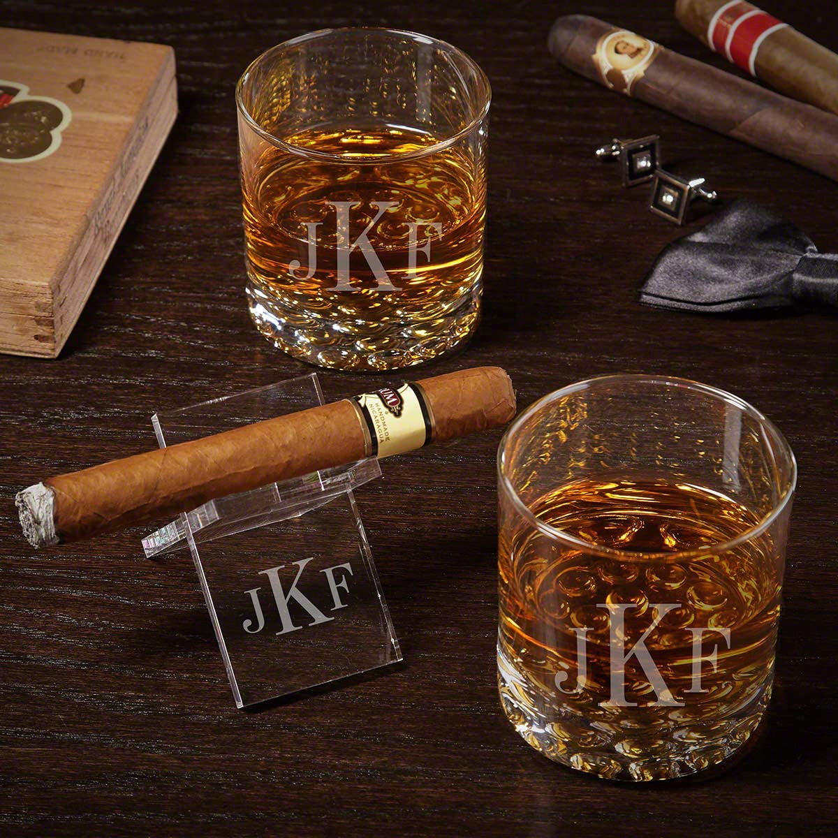 Amazon Com Classic Monogram Engraved Buckman Whiskey Glass Set With Cigar Stand Old Fashioned Glasses