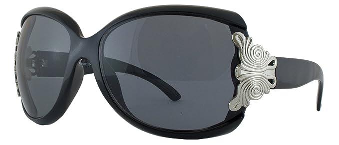 Schöne Damen Oversize Sonnenbrille mit Metall Detail weiß GR3F9c348