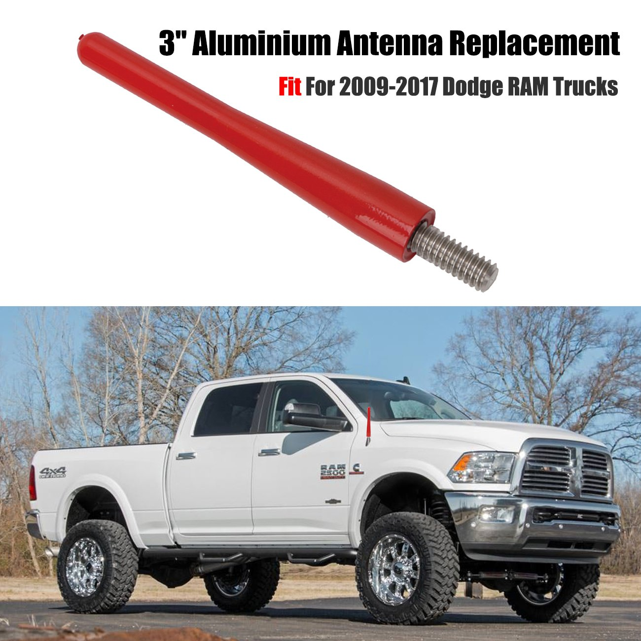 Boxatdoor 7,6 cm//8.1 cm 6 mm AM FM antenna antenna auto larghezza capotasto in metallo nero per RAM Trucks 2009-2017 Antenna auto per RAM Trucks