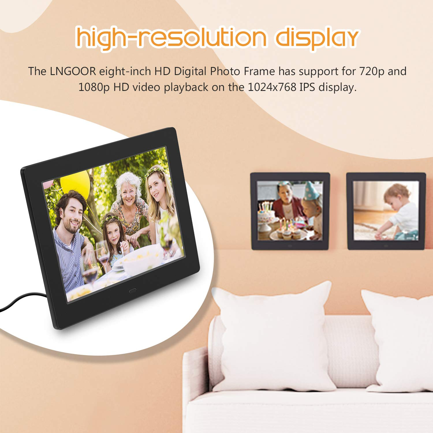 Widescreen High Resolution Electronic Picture Frame USB SD//MMC MP3 Player,Clock,Calendar Function with Remote Control Best Gift Choice LNGOOR Digital Photo Frame 8 Inch