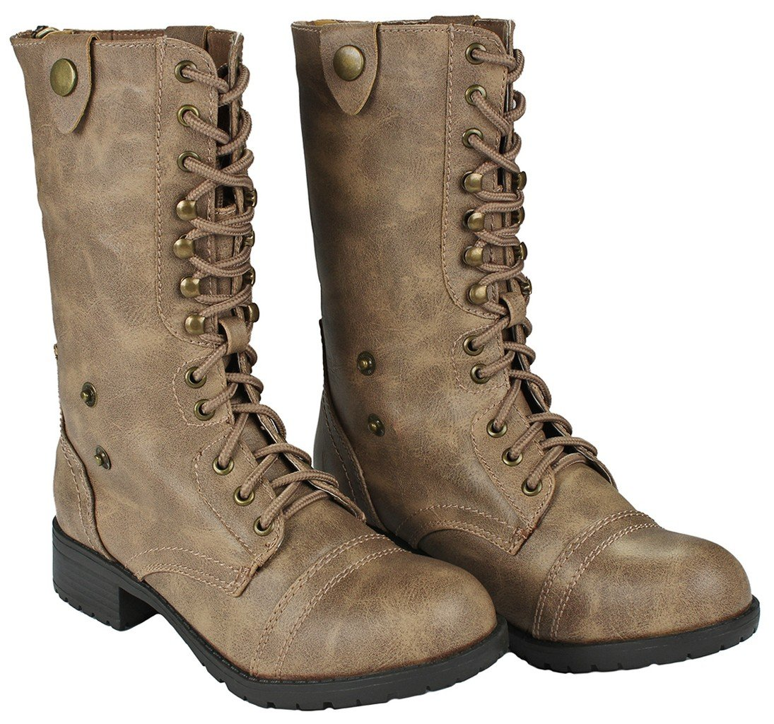 Women Holly-7 Taupe Military Combat Foldable Cuff Faux Leather Plaid/Quilted Back Zipper Lace Up Boots-8.5 by JJF Shoes (Image #4)