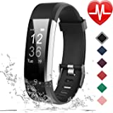 (Black) - LETSCOM Fitness Tracker HR, Activity Tracker Watch with Heart Rate Monitor, Waterproof Smart Bracelet with Step Counter, Calorie Counter, Pedometer Watch for Kids Women and Men, Android & iOS