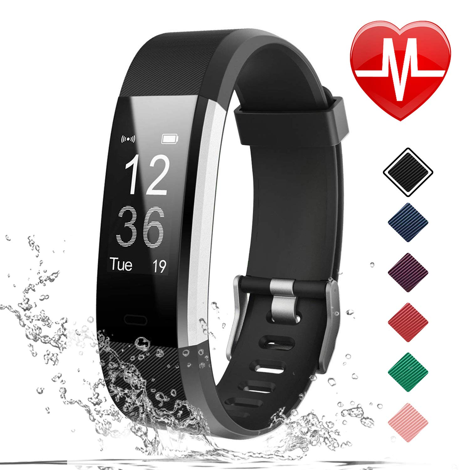 LETSCOM Fitness Tracker HR, Activity Tracker Watch with Heart Rate Monitor, IP67 Waterproof Smart Bracelet with Step Counter, Calorie Counter, Pedometer Watch for Women and Men, Kids