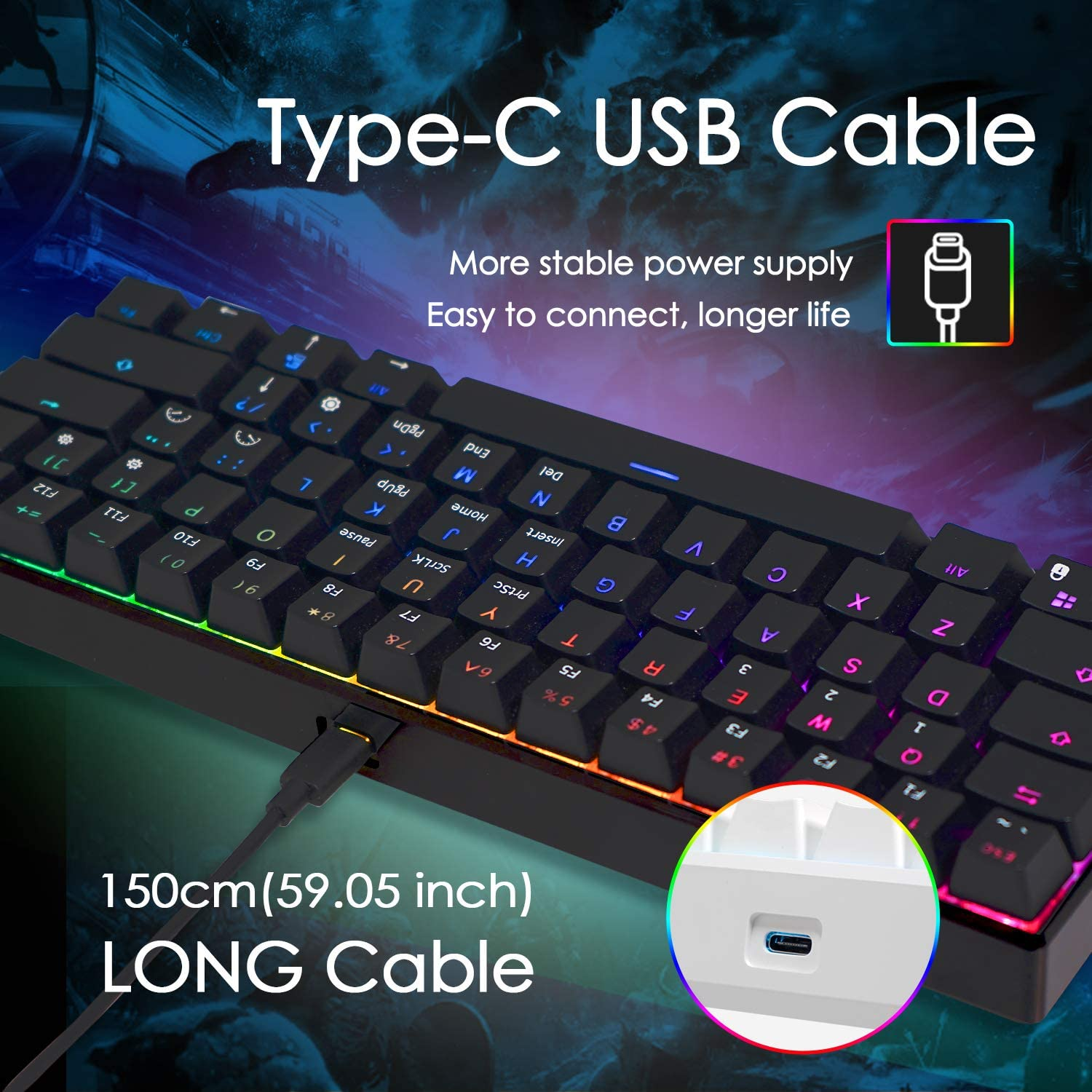ROYAL KLUDGE RK RK61 Wired 60% Mechanical Gaming Keyboard RGB Ultra-Compact (Blue Switch) 4