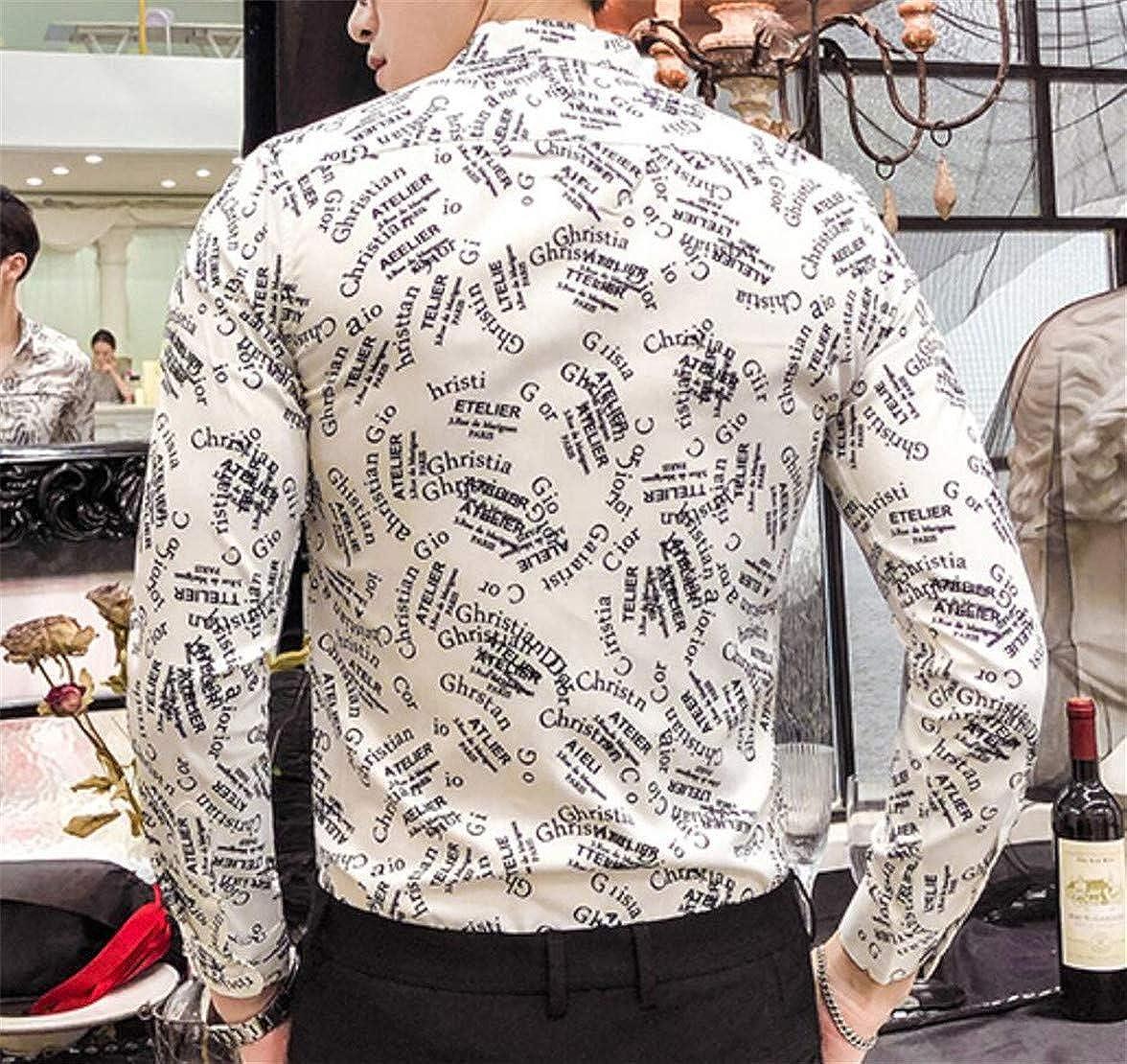 Gnao Men Print Buttons Long Sleeve Fashion Lapel Dress Shirts