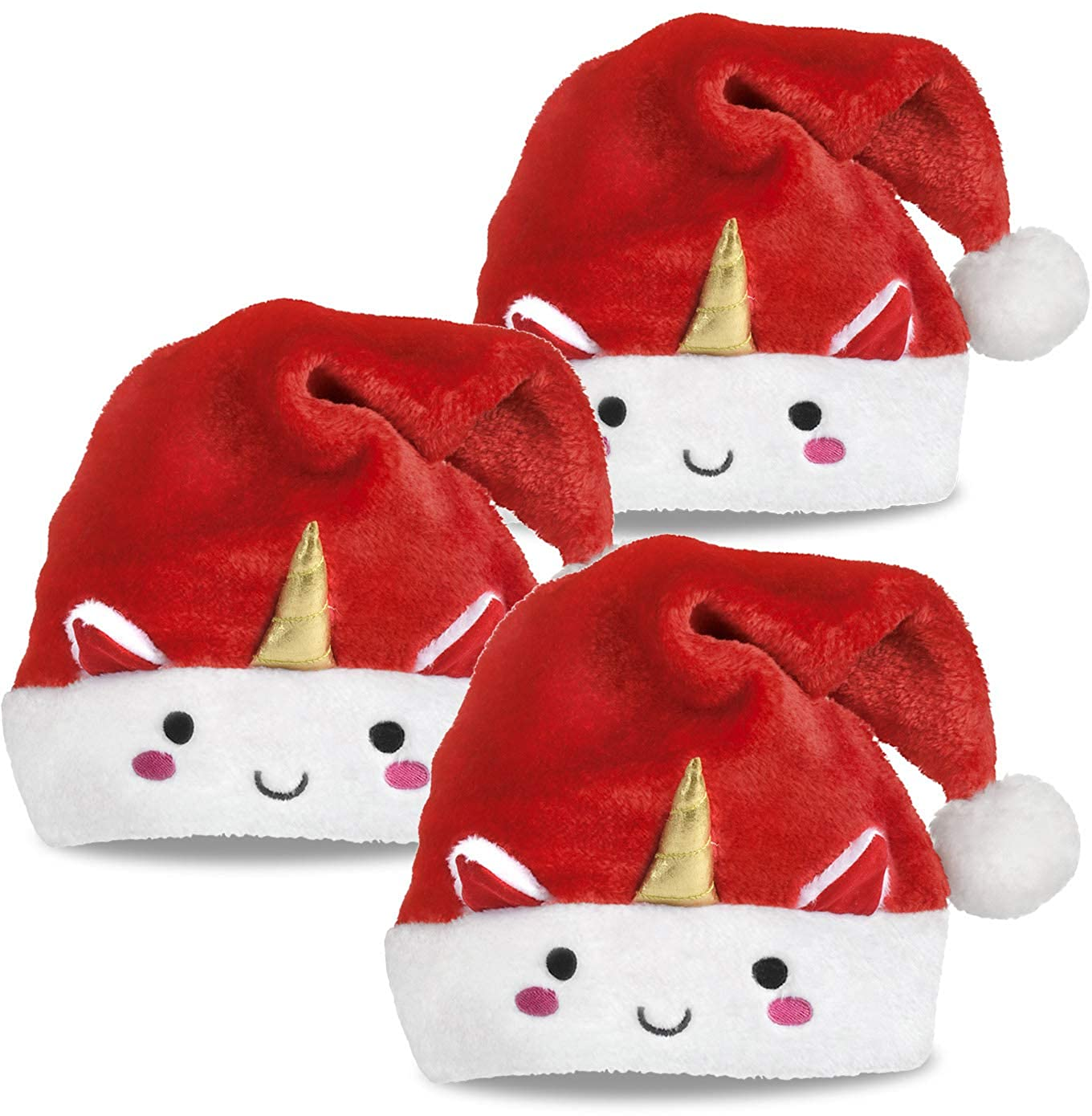 46b8fba017429 Amazon.com  Unicorn Santa Hat Christmas Santa Hats with Unicorn Horn and  Smile Face 3 Pack  Clothing