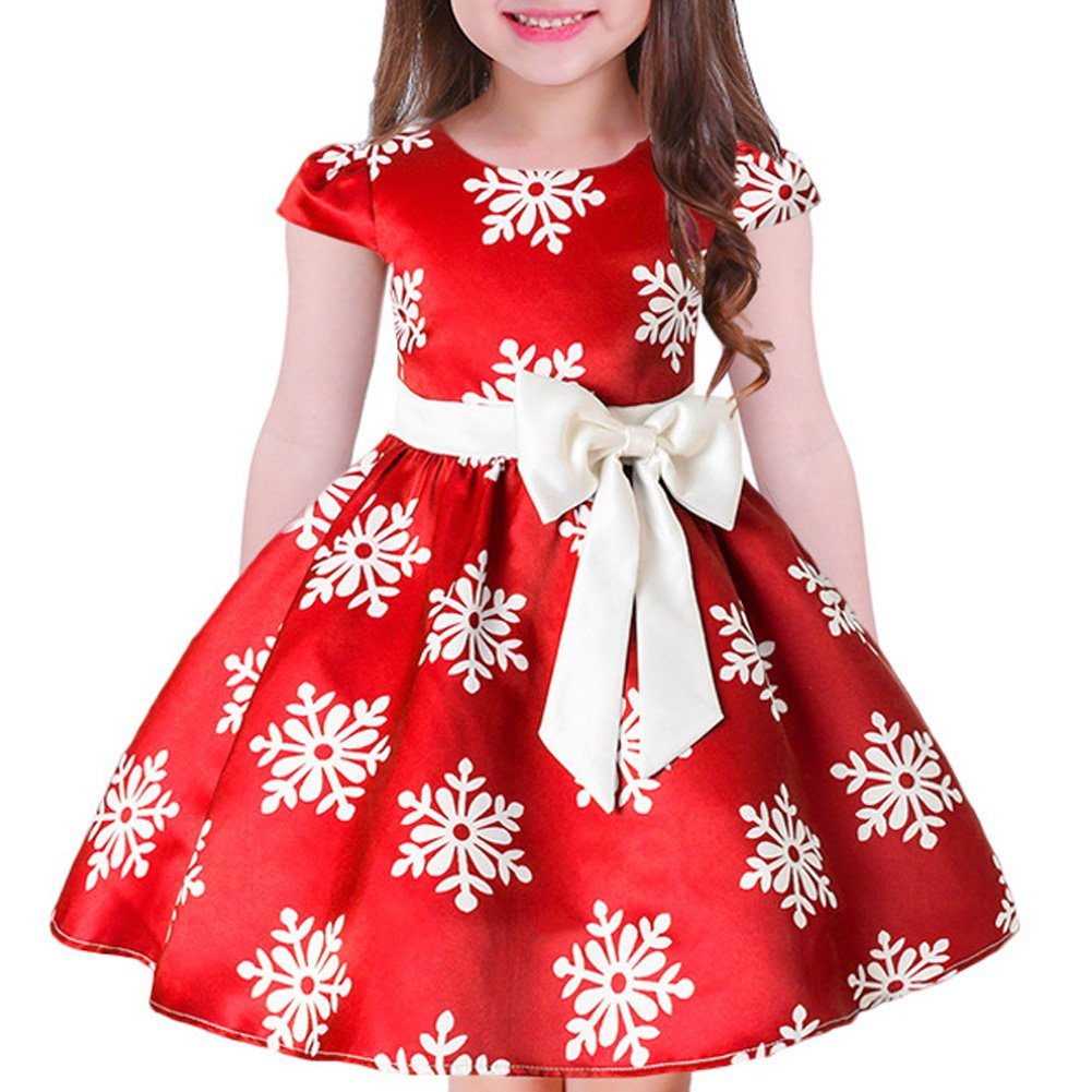 Tueenhuge Baby Girls Christmas Dress Toddler Snowflake Print Party Wedding Formal Dresses