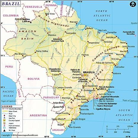 Amazon.com : Brazil Map (36\