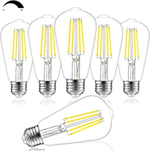 Dimmable Vintage LED Edison Bulbs, 100W Equivalent, 8W, 1200Lumens, High Brightness Daylight White 4000K, ST64 Antique LED Filament Light Bulbs, E26 Medium Base, Clear Glass, for Home Kitchen, 6 Packs