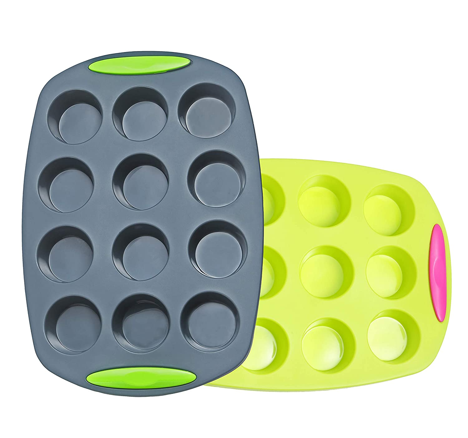 Megrocle Mini Silicone Muffin Pan Set of 2, Non Stick 12 Cups Cupcake Pan, BPA-Free Food Grade Silicone Baking Molds, Oven-Microwave-Dishwasher Safe Silicone Muffin Tin Cake Pans