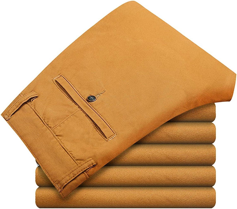 Mens Pants Cotton Casual Pants Stretch Male Trousers Man Long Straight,deep Khaki,34