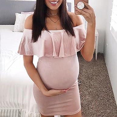 Gusspower Vestidos Embarazada Fiesta Mujer, Vestidos Ajustados Con Volantes Atractivo Vestidos Hombro Descubierto Color SóLido: Amazon.es: Ropa y accesorios