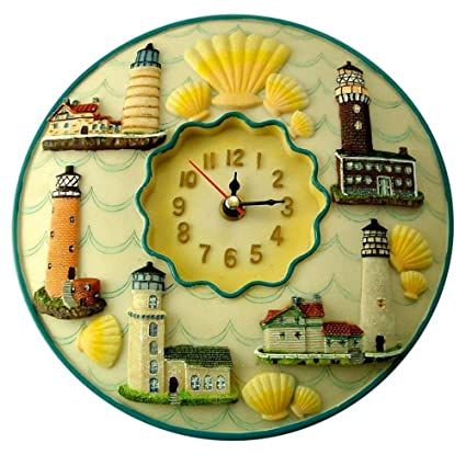 "Amazon.com: Lighthouses Clock, 8"" Round, 3D Polystone - Lighthouses ..."