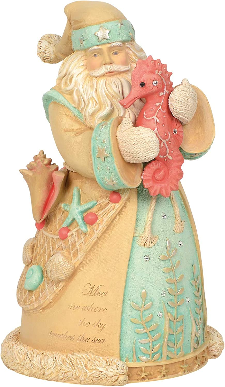 Enesco 6003890 Heart of Christmas Coastal Santa and Seahorse Figurine, 8 Inch, Multicolor