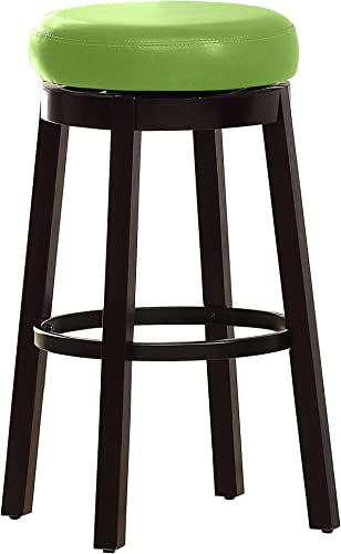 Furniture of America Barthe Leatherette and Wood Swivel Bar Stool