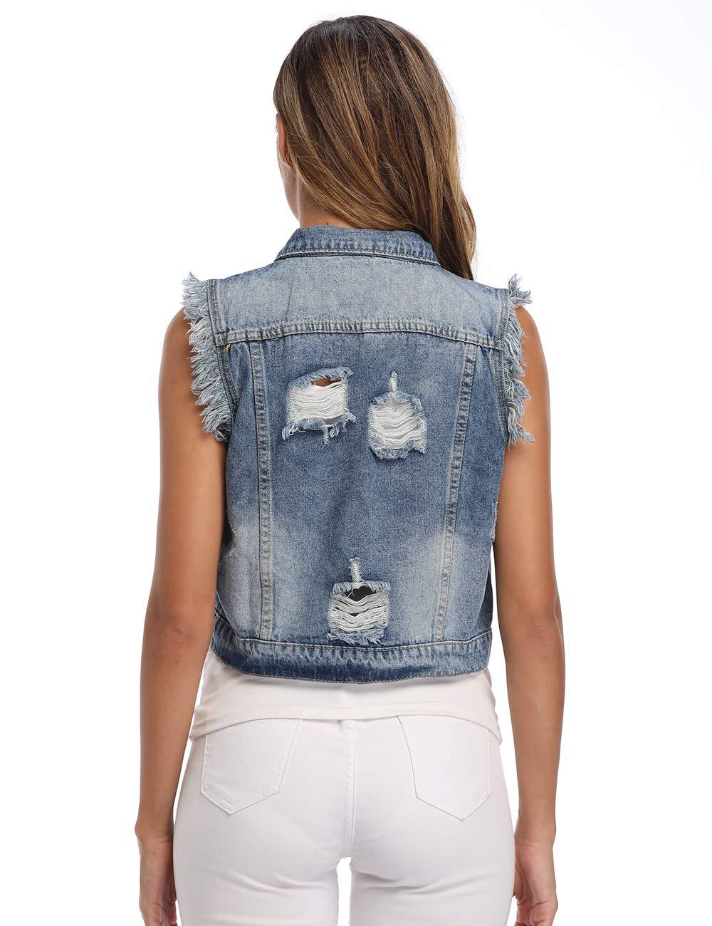 Peiqi Womens Jean Vest Cropped Denim Vest Sleeveless Denim Jacket Washed Denim Vest
