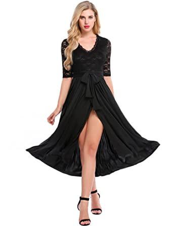 Meaneor Womens High Slit Lace Up Dress Deep V Neck Long Sleeve Prom Party Dress