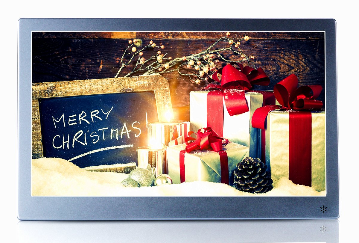 OLDTIME 12'' Digital Photo Picture Frame Full View IPS 1920x1080 & HD Video (1080p),Advertising Machine Alarm Clock MP3 MP4 Movie Player with Remote Control- Christmas Gift Present by OLDTIME