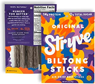 product image for Stryve Mini Snack Beef Sticks. 14g Protein, Sugar Free, No Carbs, Gluten Free, No Nitrates, No MSG, No Preservatives. Keto and Paleo Friendly. Original, 2.5oz 2-Pack