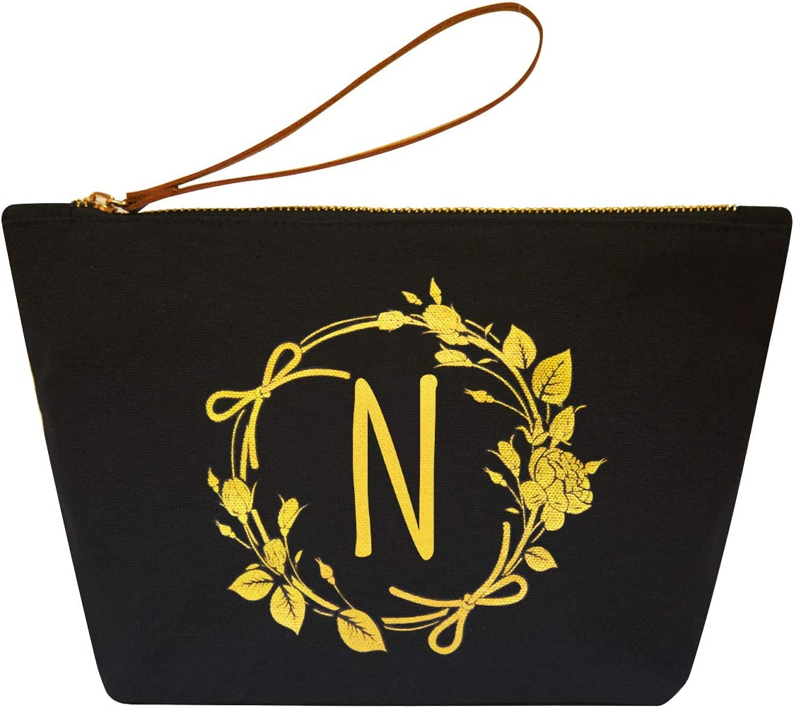 ElegantPark N Initial Monogram Personalized Travel Makeup Cosmetic Bag Wristlet Pouch Gifts Black with Zipper Canvas