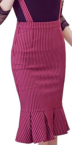 URqueen Women's Striped Suspender Skirts Basic High Waist Bodycon Skirt