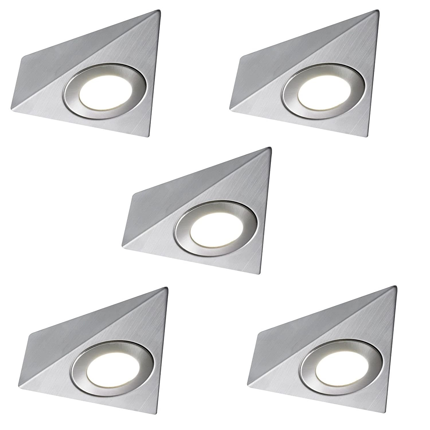 5 X LED MAINS TRIANGLE LIGHT KITCHEN UNDER CABINET UNIT CUPBOARD COOL WHITE Lighting Innovations