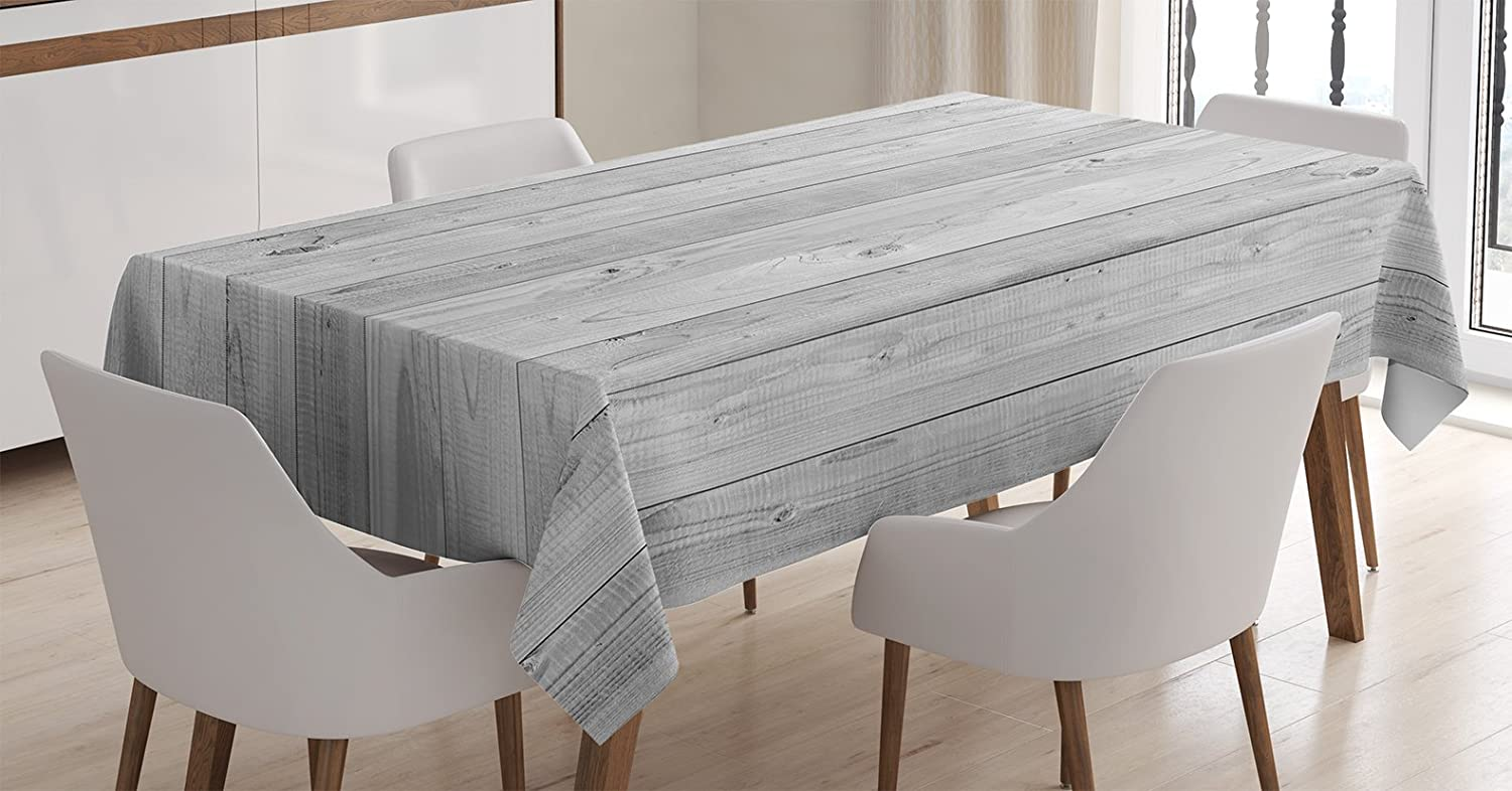 """Ambesonne Grey Tablecloth, Picture of Smooth Oak Wood Texture in Old Fashion Retro Style Horizontal Nature Design Home, Rectangular Table Cover for Dining Room Kitchen Decor, 60"""" X 84"""", Grey"""