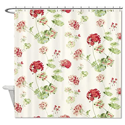 Neafts Polyester Waterproof Laura Ashley Geranium Cranberry Shower Curtain Bathroom Decor Home Decorations With Hooks Set