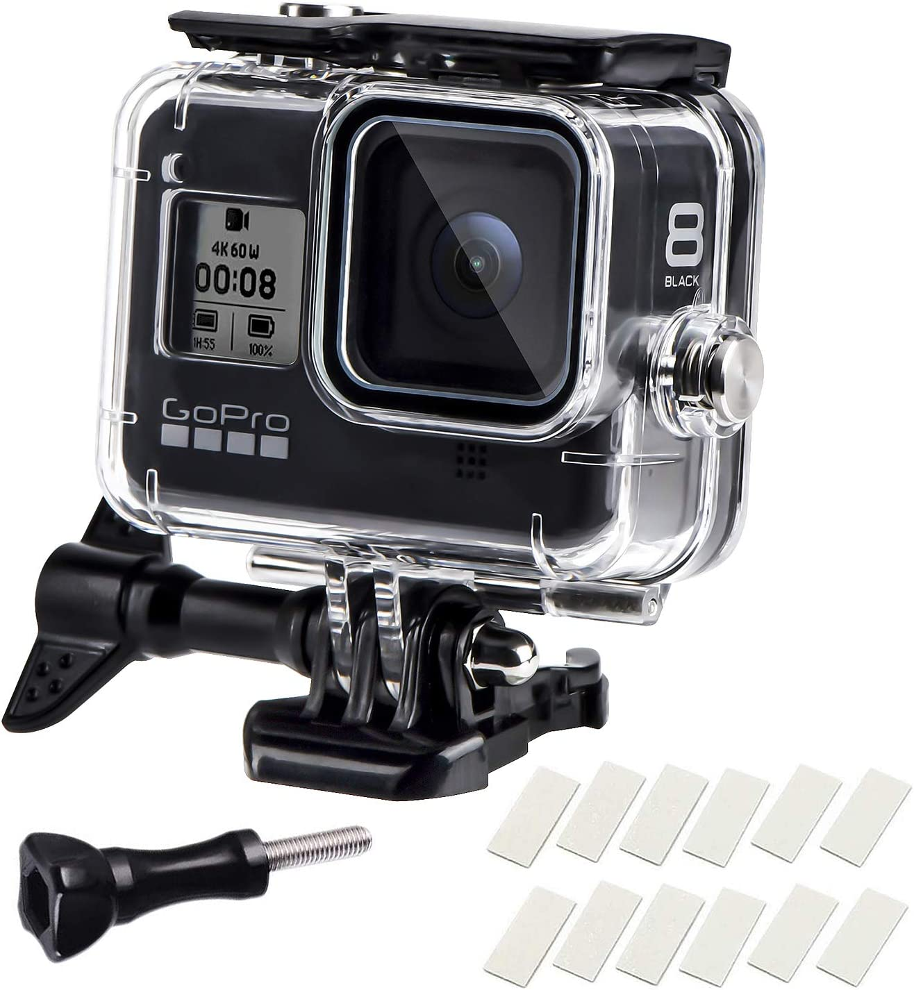 Waterproof Housing Case for GoPro Hero 8, 60M Diving Protective Housing Shell for Gopro Hero 8 Black Action Camera, Underwater Waterproof Protective Case with Quick Release Mount and Thumbscrew