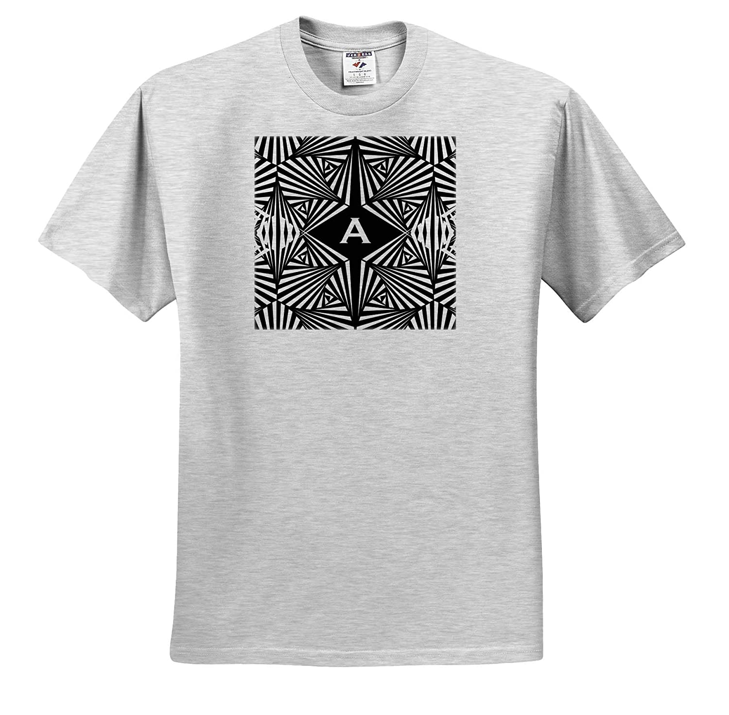 Letter A T-Shirts Geometric Black and White Geometric Monogram Letter A 3dRose Russ Billington Monograms