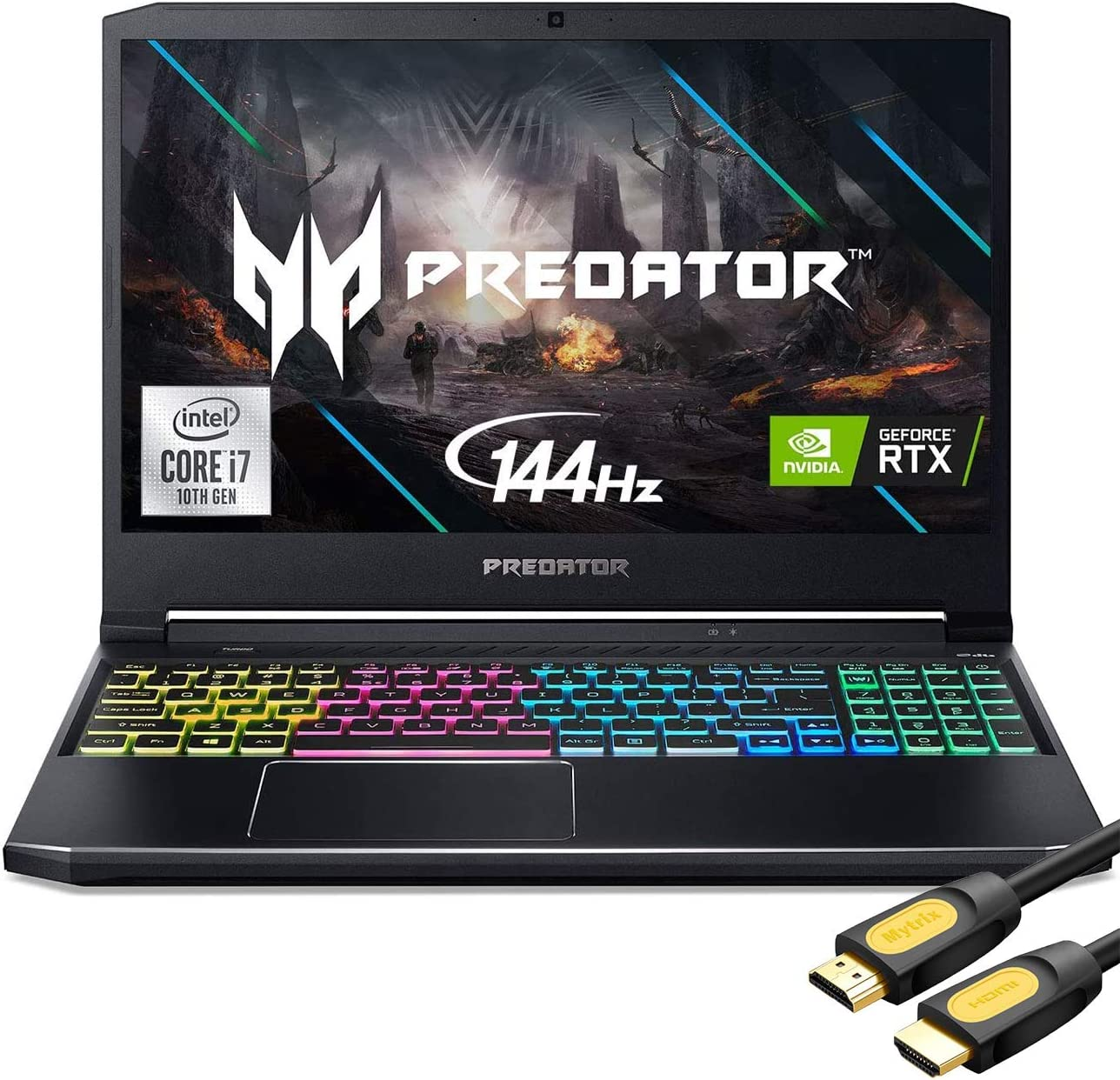 "Acer Predator Helios 300 144Hz Gaming Laptop, 15.6"" 3ms IPS FHD, RTX 2060 OC, i7-10750H 6-Cores up to 5.00 GHz, 16GB RAM, 1TB SSD, Killer Network, RGB KB, WiFi 6, Mytrix HDMI Cable, Win 10"