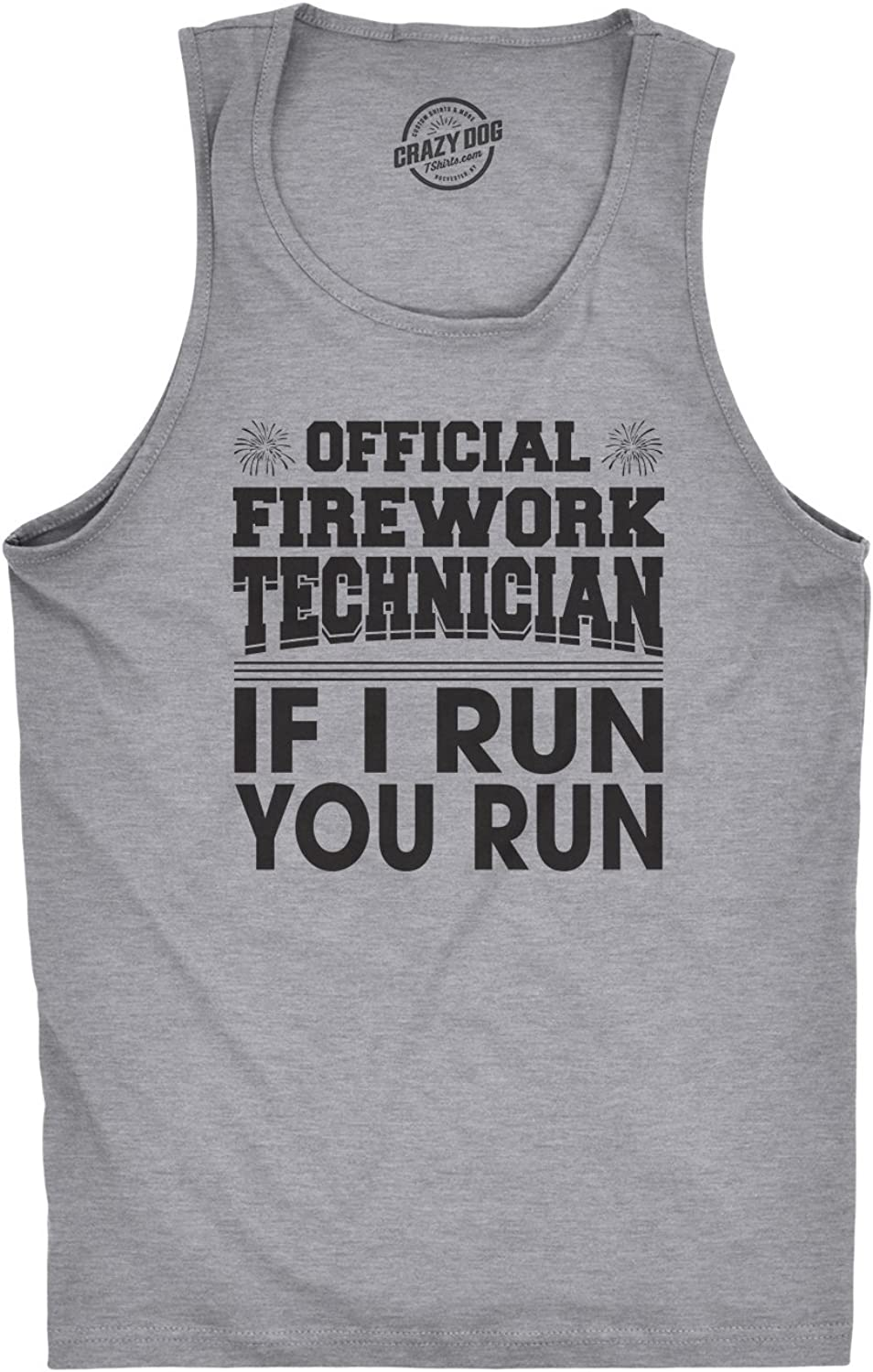 Mens Fitness Tank Official Firework Technician Tanktop Funny Fourth of July Tee for Guys