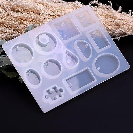 Molde de resina de silicona FlowerKu para moldeo de pulsera colgante, manualidades, 12