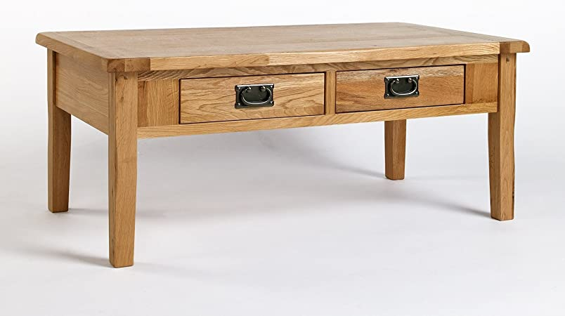Rustic Solid Oak 4 Drawer Coffee Table Antique Dark Wood Vintage Style Occasional Low Table With Storage 110 X 60 Cm Small Lounge Table Cotswold