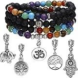 Jovivi 6mm Mala Beads 108/Lava Rock 7 Chakra Tree of Life/Hamsa/OM/Lotus/Elephant Charm Healing Crystal Bracelet Necklace