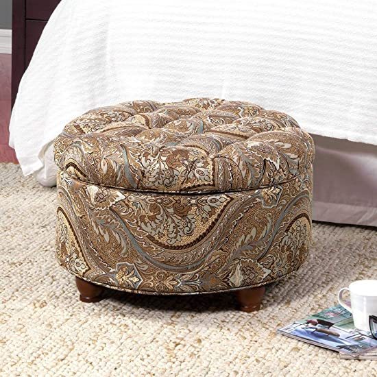 Multifunctional Button Tufted Round Storage Ottoman Brown and Tel Paisley Offers Both a Place to Rest Your Feet and Storage Space