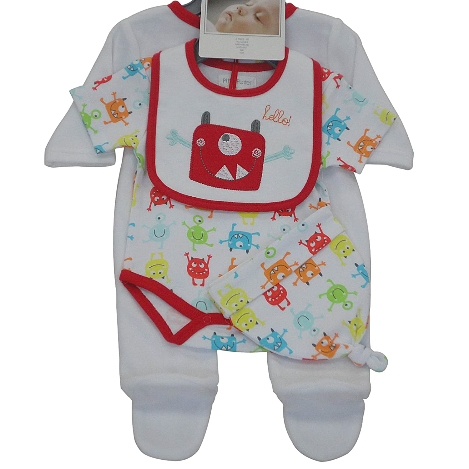 Pitter Patter Baby Gifts Coordinato Bianco/Rosso 3-6 Mesi (62/68 cm) 31015_Blancoyrojo-3-6meses
