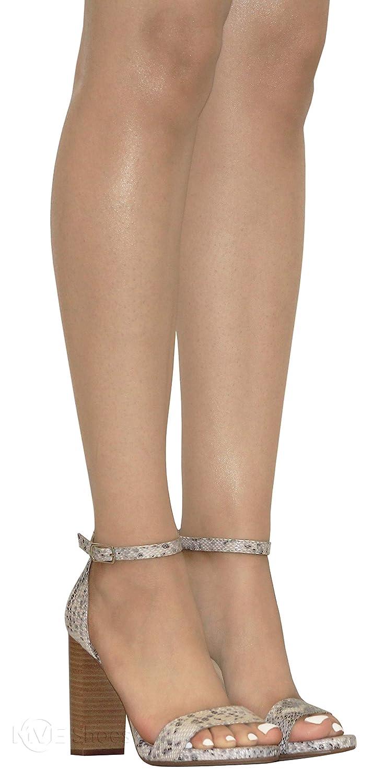 MVE Shoes Womens Open Toe Chunky Heel Strappy Heeled Sandal