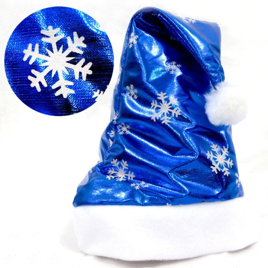 Xshuai 2Pcs//Set Christmas Santa Claus Hat Red/&Blue Cap Gifts for Childrens and Adults Festive Holiday Party Costume