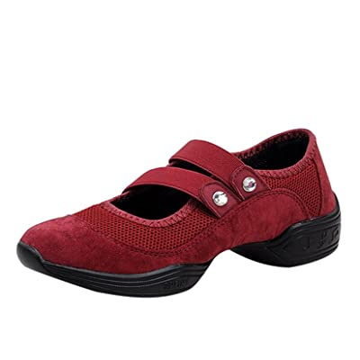 Ainrving Women's Breathable Dance Sneaker Jazz Shoes Slip-on Loafers