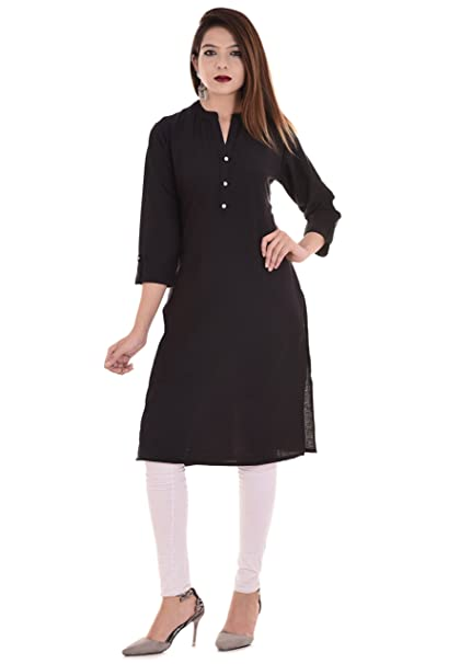 80de0e3562a402 Blezza Casual Solid Women s Straight Kurti Made From Cotton Fabric   Amazon.in  Clothing   Accessories