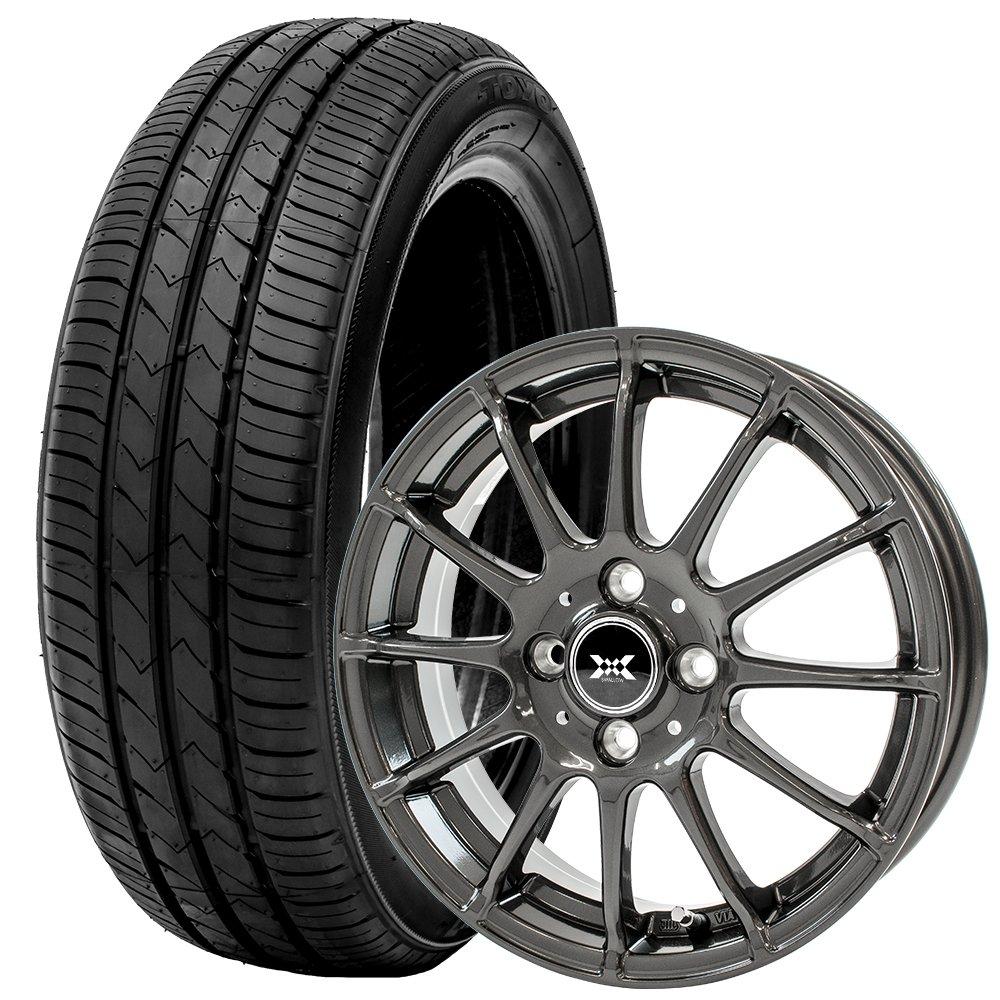 トーヨータイヤ サマータイヤ ホイールセット 155/65R14 4本セット N-BOX N-ONE ムーヴ タント 低燃費スタンダードタイヤ (ダークグレーメタリック)(TOYOTIRE)(TOYOTIERS) SD-K7 B07D8T3M6P