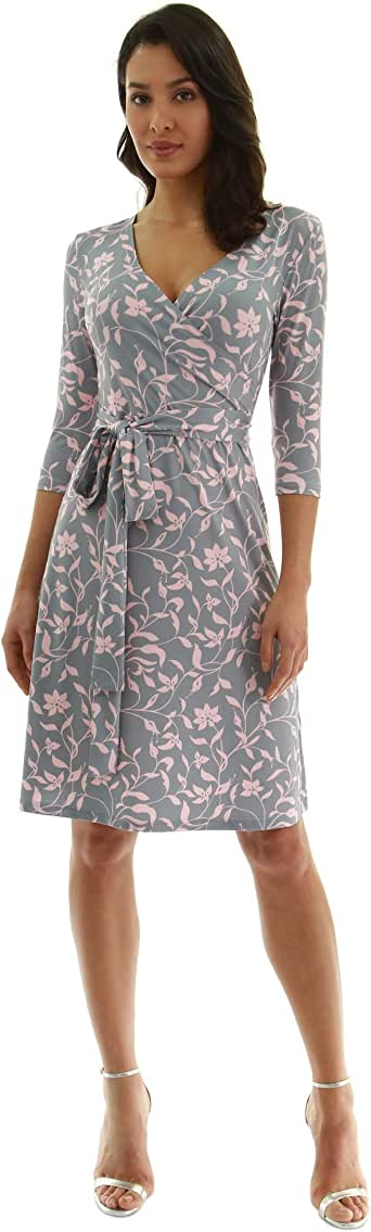 PattyBoutik Women's Faux Wrap A Line Dress