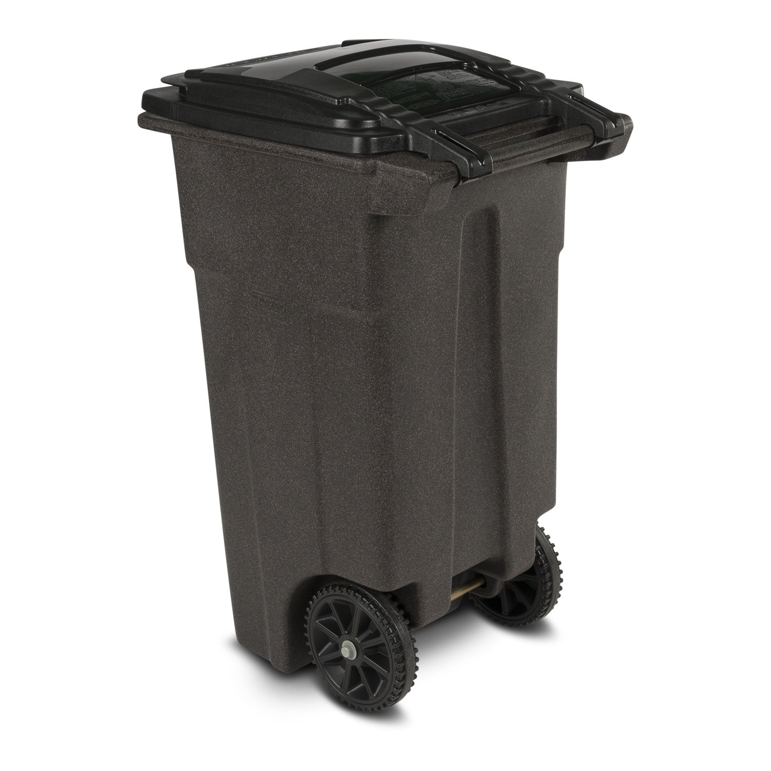32-Gallon Blackstone Toter 025532-R1209 Residential Heavy Duty Two Wheeled Trash Can with Attached Lid
