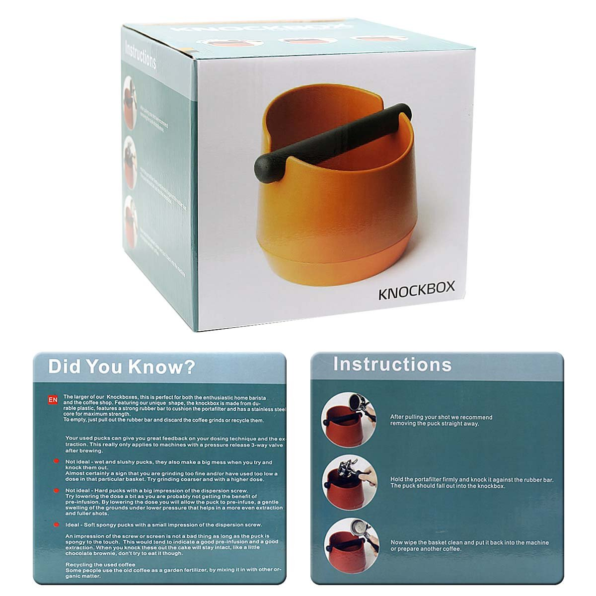 Stainless steel knockout trough - 8th team New Product Environmental resistance fall Coffee machine only powder residue bucket and knock slag box (orange)