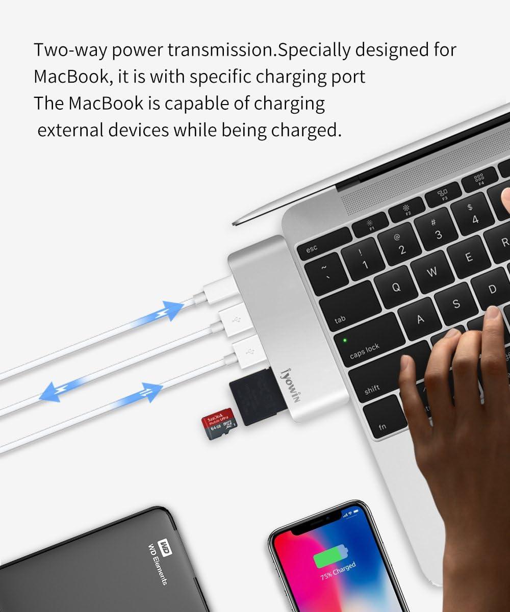 Iyowin Aluminio Thunderbolt 3 USB Tipo-C Adaptador Dongle para ...