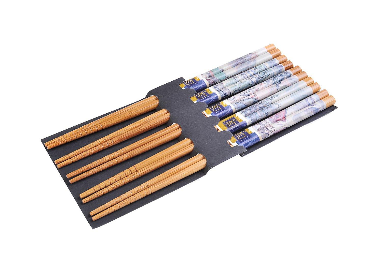 Quantum Abacus Chopsticks Set Chinese Landscape Mod NP-S5-GH06 Chopstick Set 5 pairs bamboo chopsticks