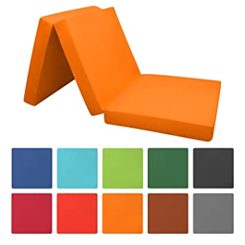 Campix Folding Mattress Guest Bed Space Saving Futon 195 x 120 x 7 cm Dark Blue