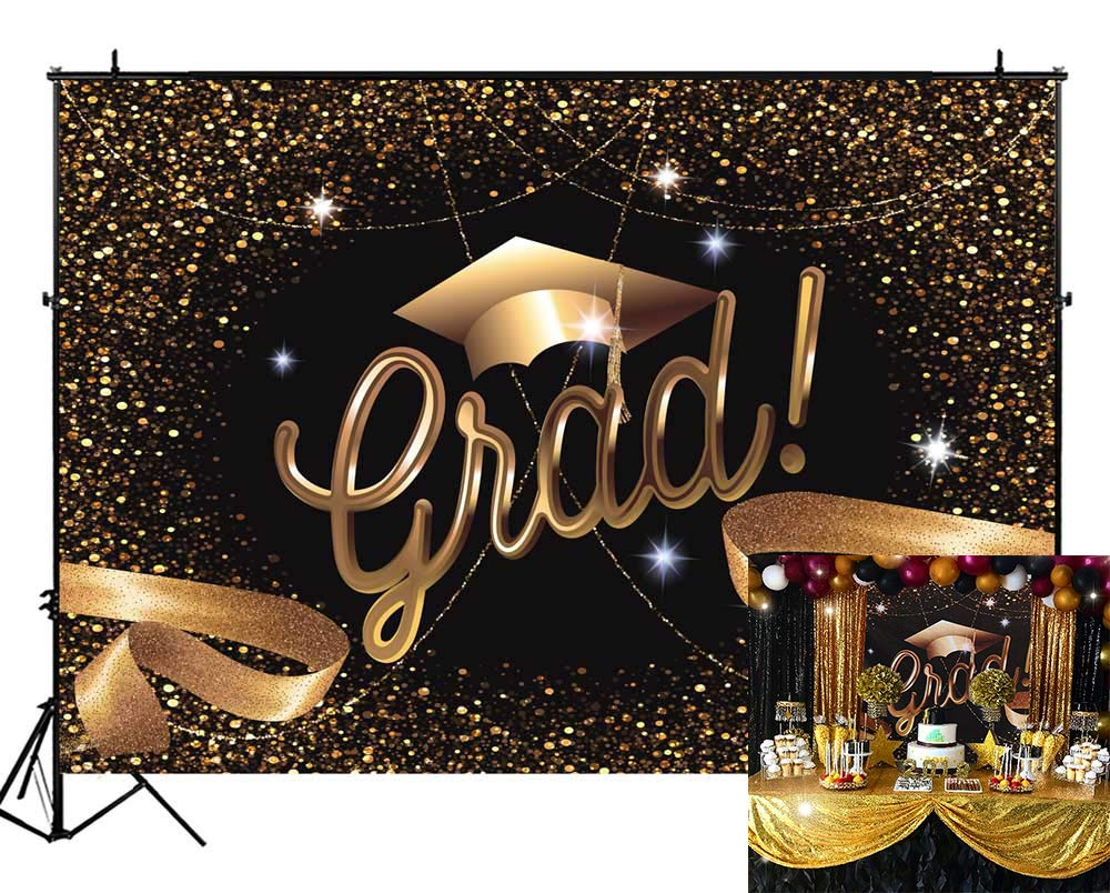 Funnytree 8X6FT Durable Fabric 2019 Class Graduation Prom Photography Backdrop Black and Gold Bachelor Cap Ribbon Grad Celebration Party Banner Background for Picture Photo Photobooth Decoration